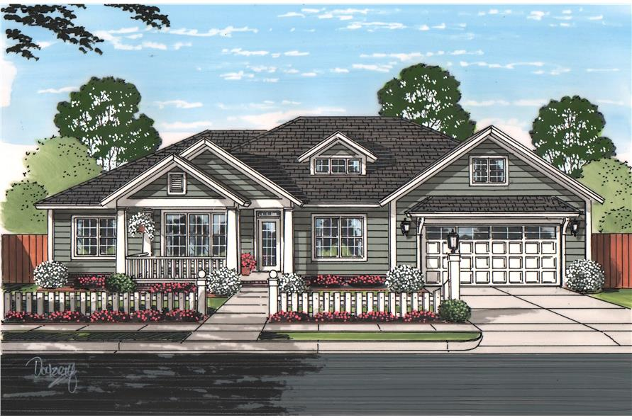 Front elevation of Cottage home (ThePlanCollection: House Plan #178-1215)