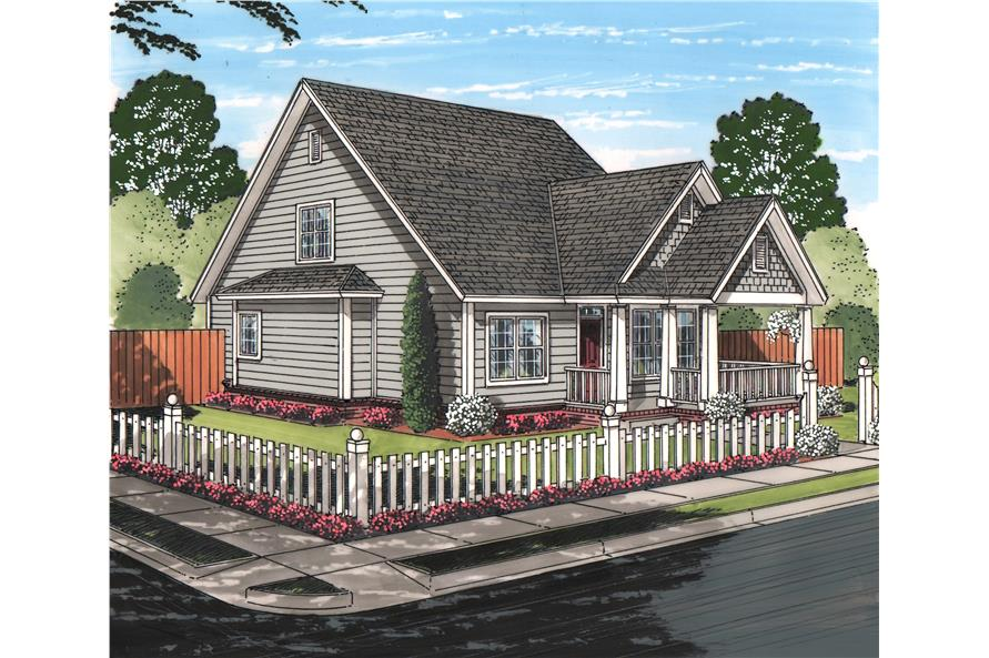 Front elevation of Cottage home (ThePlanCollection: House Plan #178-1216)