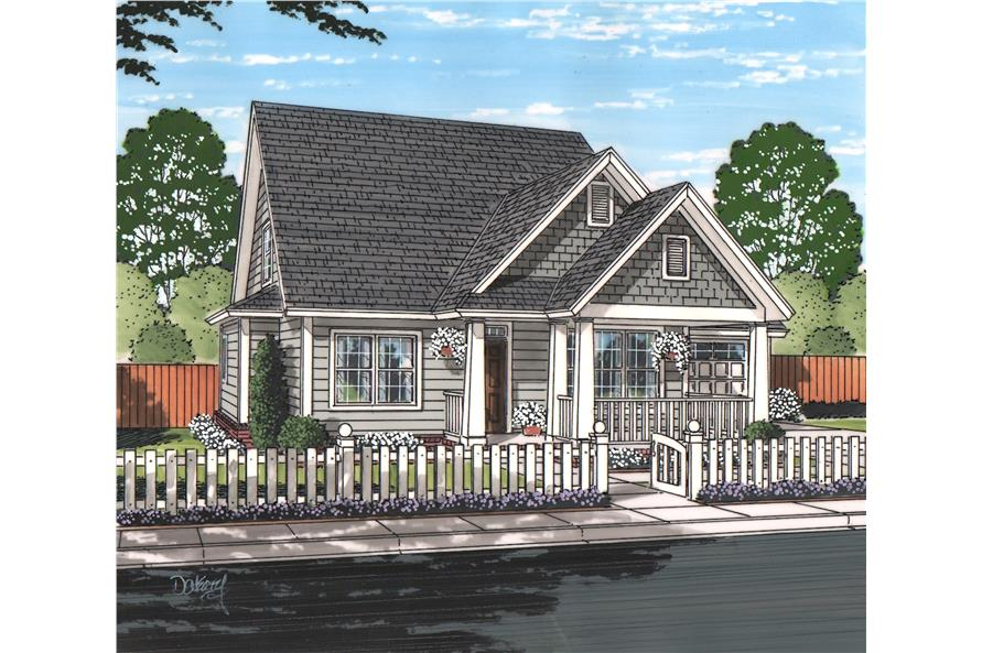 Front elevation of Cottage home (ThePlanCollection: House Plan #178-1217)