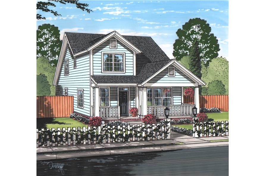Front elevation of Cottage home (ThePlanCollection: House Plan #178-1218)