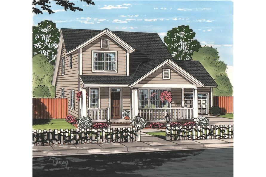 Front elevation of Cottage home (ThePlanCollection: House Plan #178-1219)