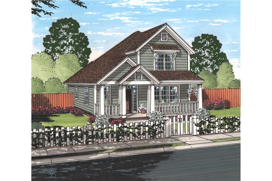 Front elevation of Cottage home (ThePlanCollection: House Plan #178-1221)