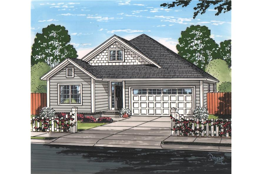 Front elevation of ranch home (ThePlanCollection: House Plan #178-1222)