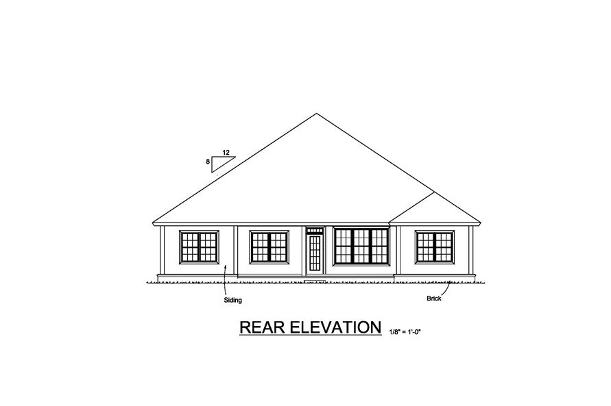Home Plan Rear Elevation of this 5-Bedroom,1996 Sq Ft Plan -178-1223