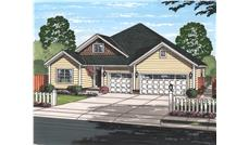 Front elevation of Texas style ranch home (ThePlanCollection: House Plan #178-1223)