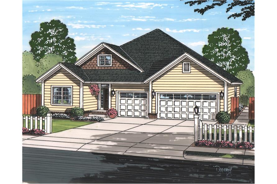 5-Bedroom, 1996 Sq Ft Texas Style Home Plan - 178-1223 - Main Exterior