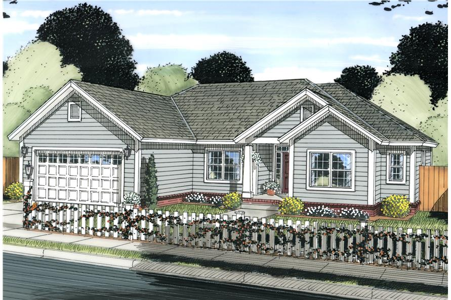 Front elevation of Cottage home (ThePlanCollection: House Plan #178-1224)