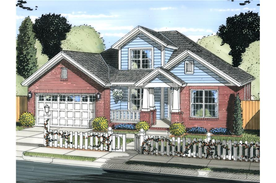 Front elevation of Cottage home (ThePlanCollection: House Plan #178-1226)