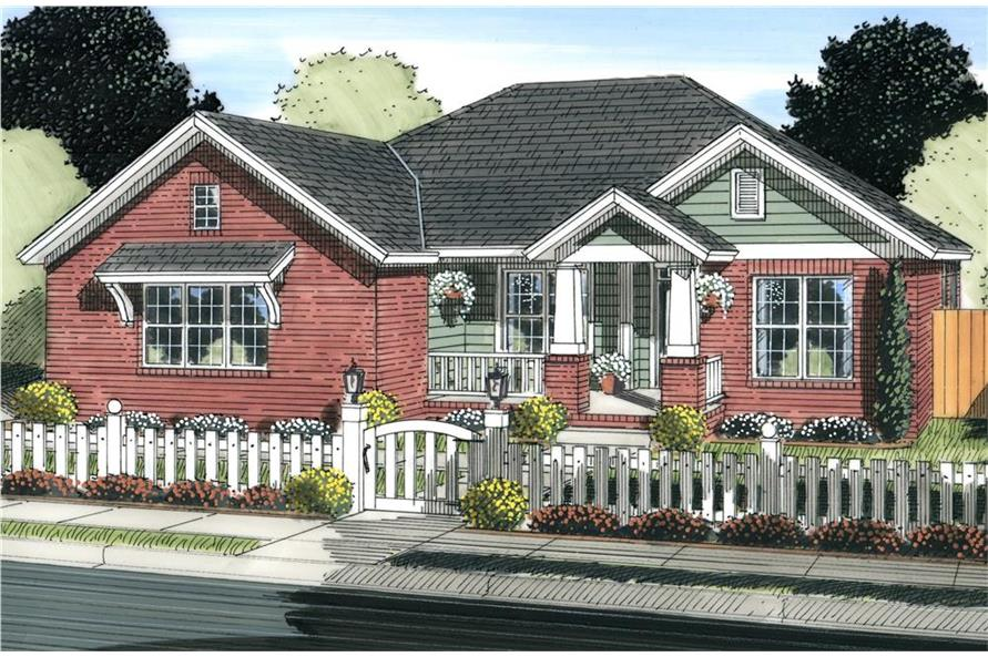 Front elevation of Craftsman home (ThePlanCollection: House Plan #178-1227)