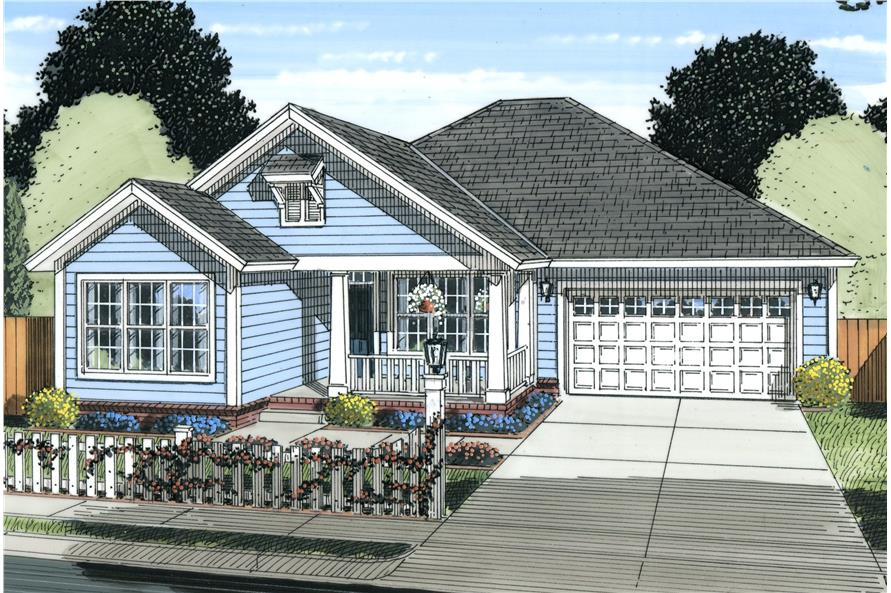 Front elevation of Craftsman home (ThePlanCollection: House Plan #178-1228)