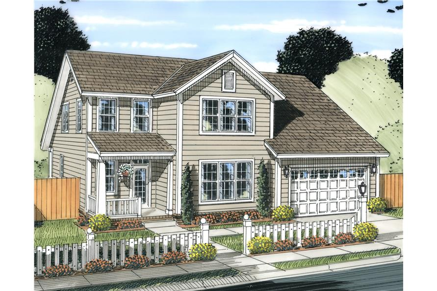 Front elevation of Craftsman home (ThePlanCollection: House Plan #178-1229)
