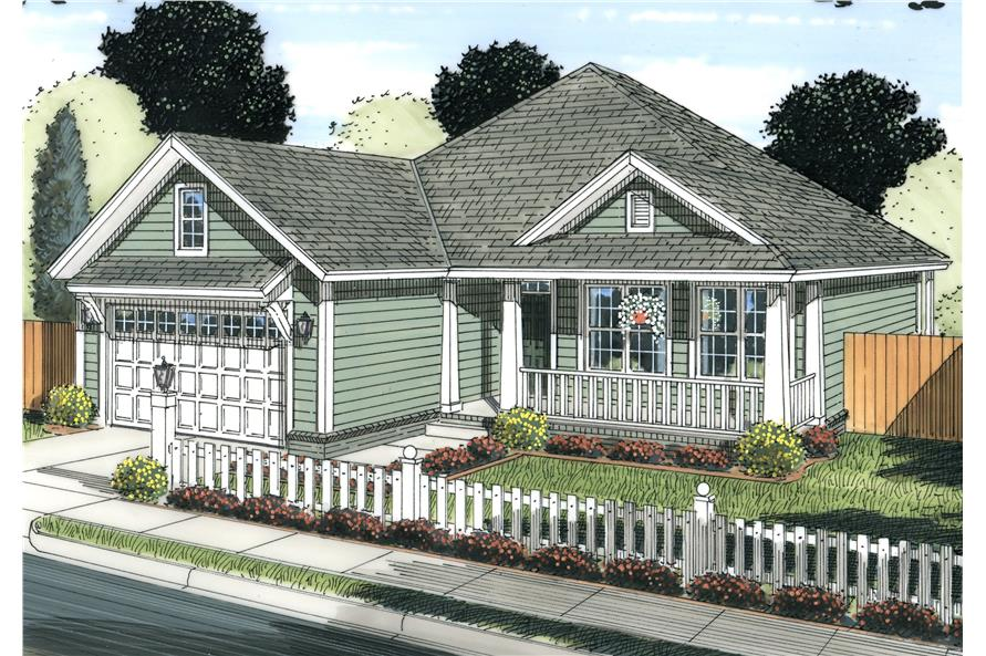 Front elevation of Cottage home (ThePlanCollection: House Plan #178-1230)