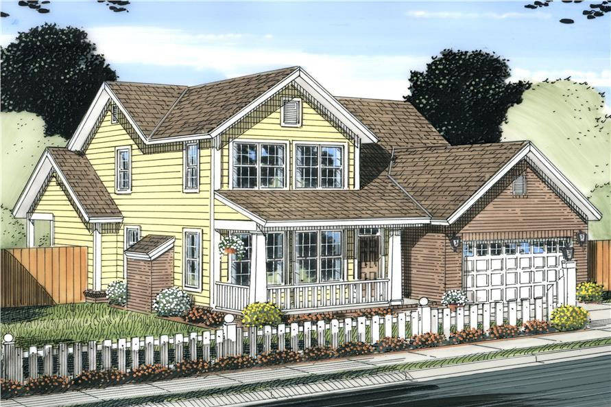 Front elevation of Craftsman home (ThePlanCollection: House Plan #178-1232)