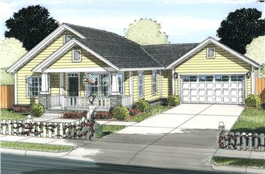 2-Bedroom, 1147 Sq Ft Cottage House Plan - 178-1233 - Front Exterior