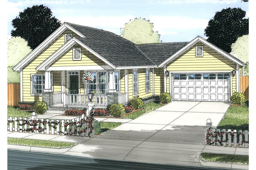 Front elevation of Cottage home (ThePlanCollection: House Plan #178-1233)