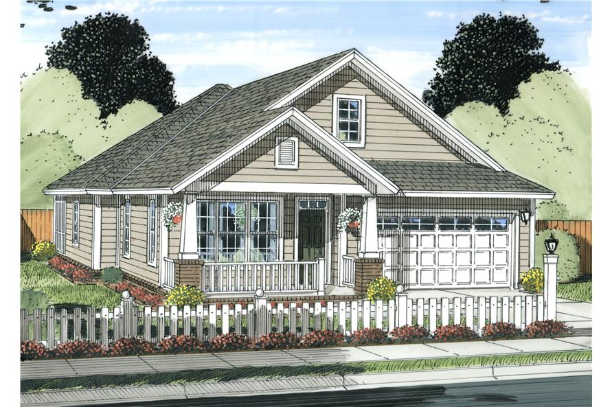 Front elevation of Cottage home (ThePlanCollection: House Plan #178-1234)