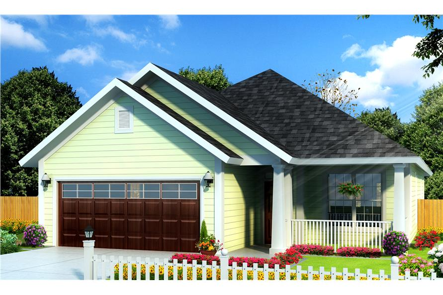 Front elevation of Cottage home (ThePlanCollection: House Plan #178-1235)