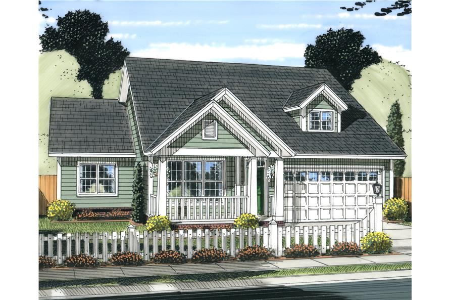 Front elevation of Craftsman home (ThePlanCollection: House Plan #178-1237)