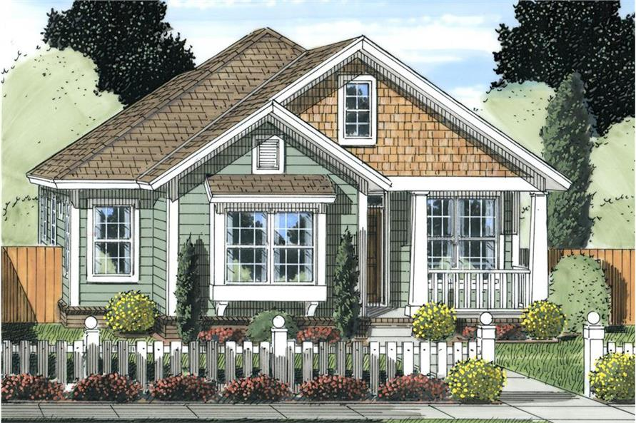 Color rendering of Cottage home plan (ThePlanCollection: House Plan #178-1238)