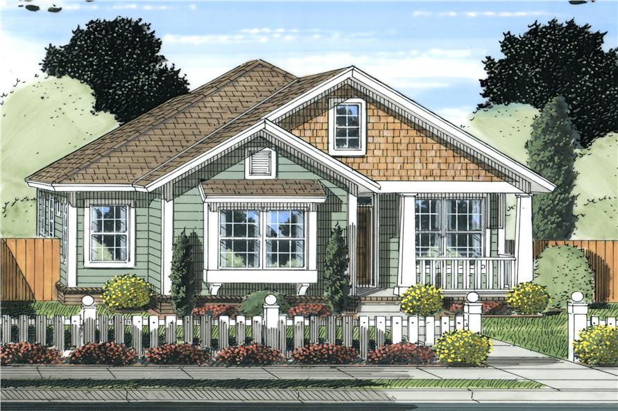 Front elevation of Cottage home (ThePlanCollection: House Plan #178-1238)