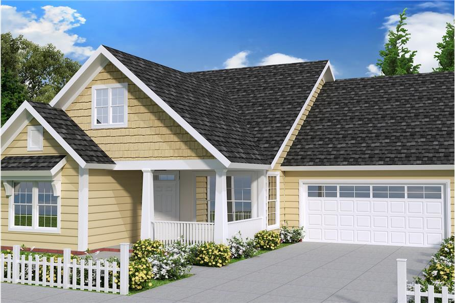 Color rendering of Cottage home plan (ThePlanCollection: House Plan #178-1239)