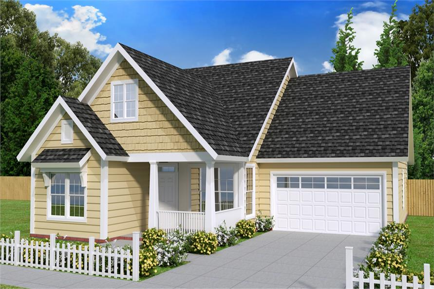 Front elevation of Cottage home (ThePlanCollection: House Plan #178-1239)