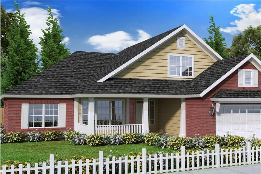 Color rendering of Craftsman home plan (ThePlanCollection: House Plan #178-1240)