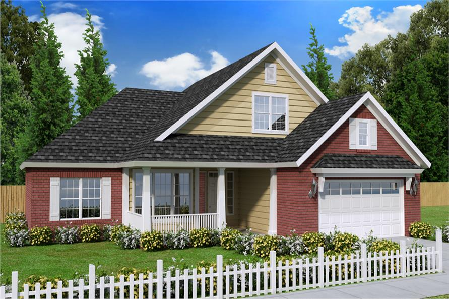 Front elevation of Craftsman home (ThePlanCollection: House Plan #178-1240)