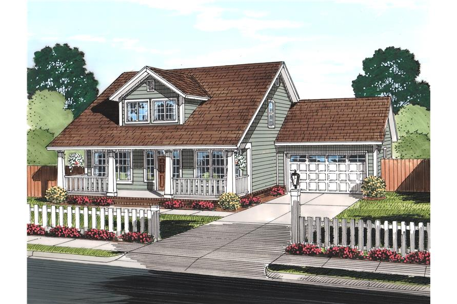 Front elevation of Craftsman home (ThePlanCollection: House Plan #178-1241)