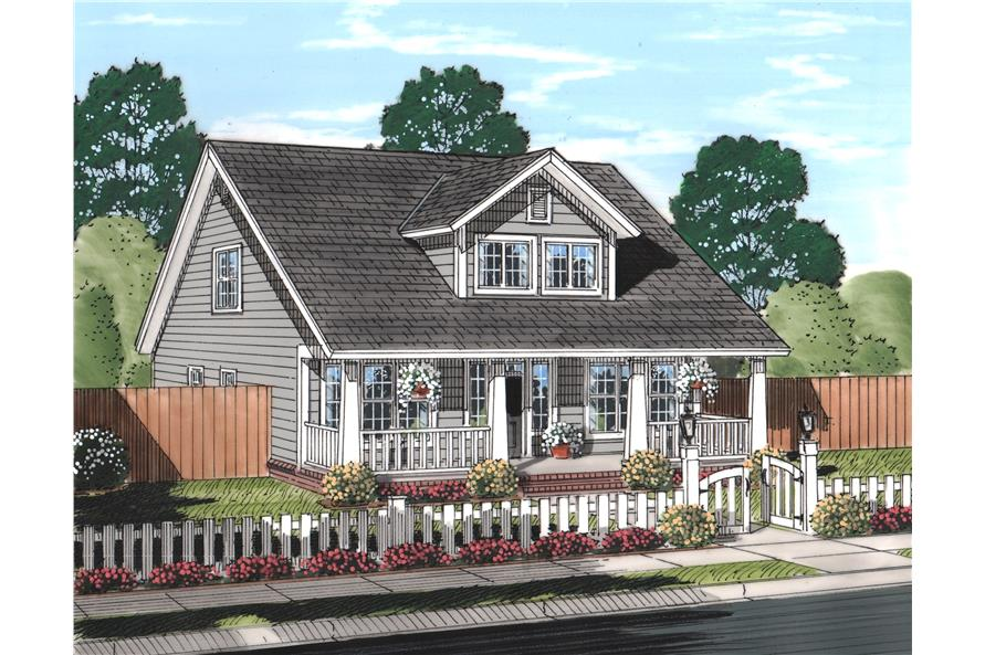 Front elevation of Craftsman home (ThePlanCollection: House Plan #178-1242)