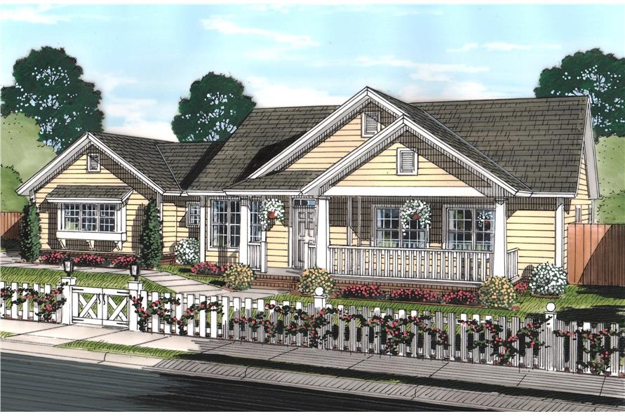 Front elevation of Craftsman home (ThePlanCollection: House Plan #178-1243)