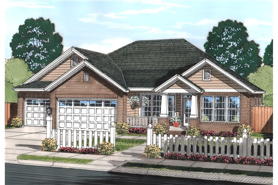 Front elevation of Craftsman home (ThePlanCollection: House Plan #178-1244)