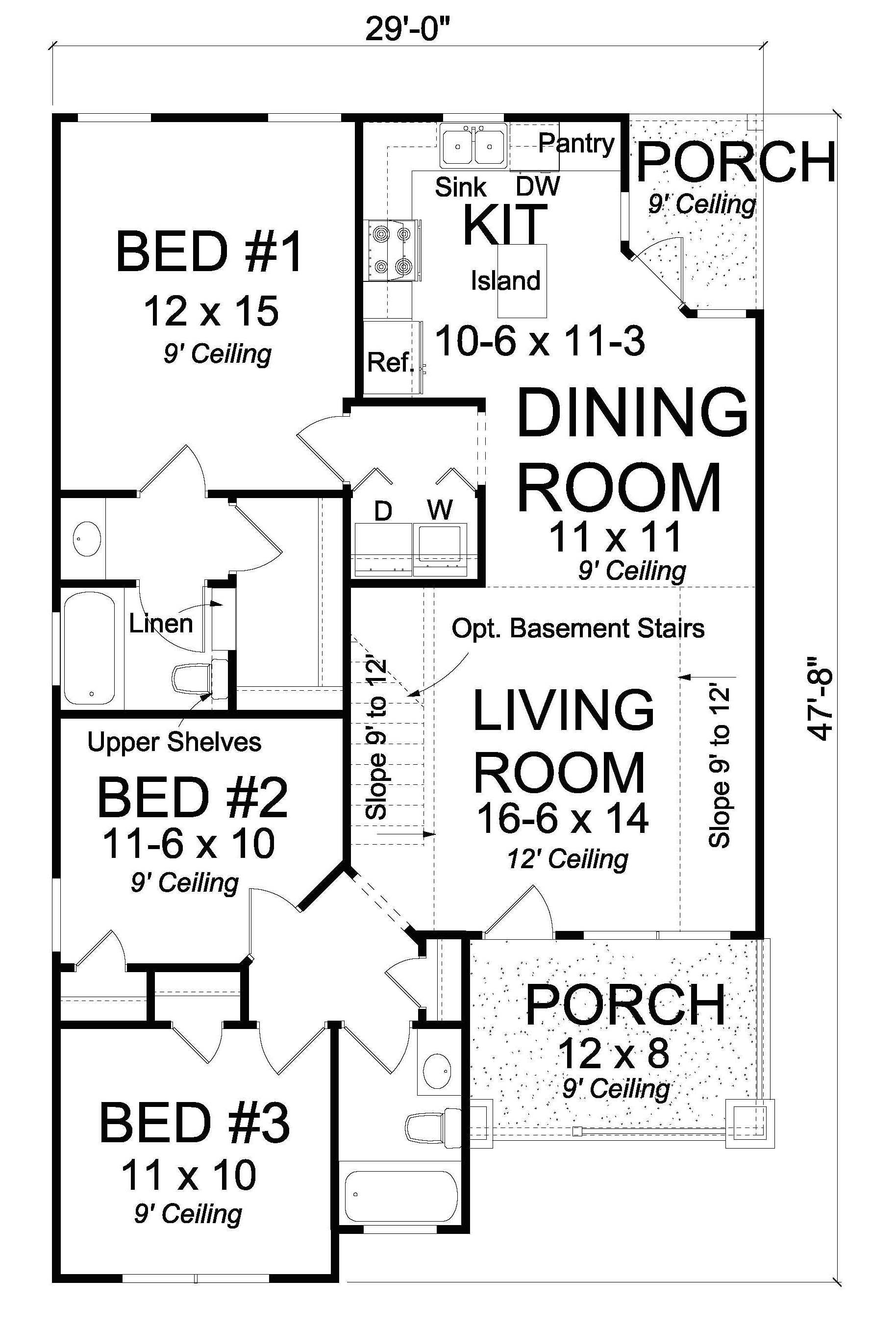 Cottage Floor Plan 3 Bedrms 2 Baths 1163 Sq Ft 178