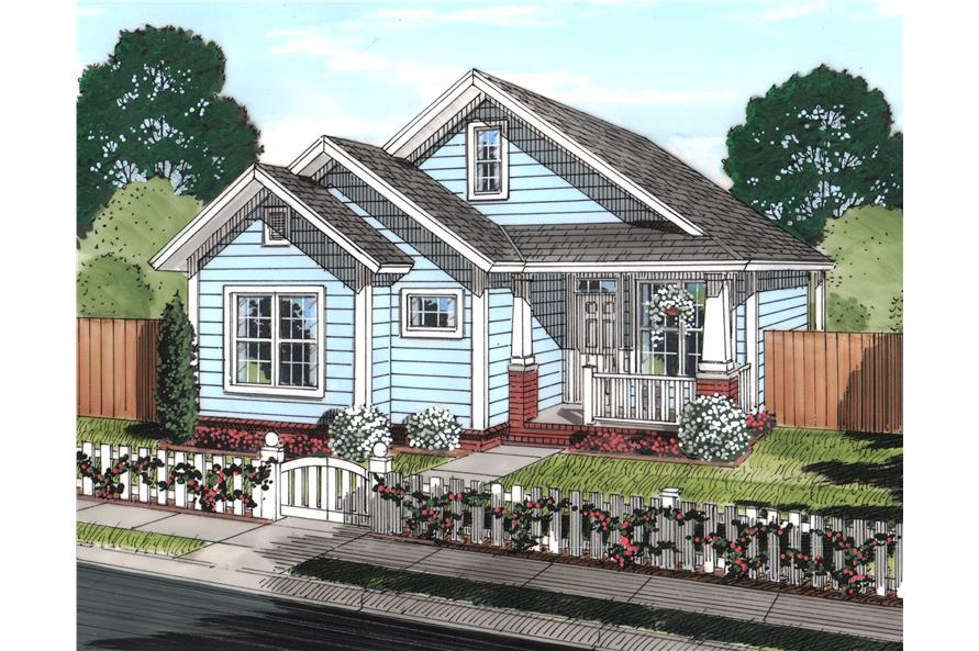 Front elevation of Cottage home (ThePlanCollection: House Plan #178-1245)