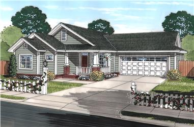 Front elevation of Craftsman home (ThePlanCollection: House Plan #178-1246)