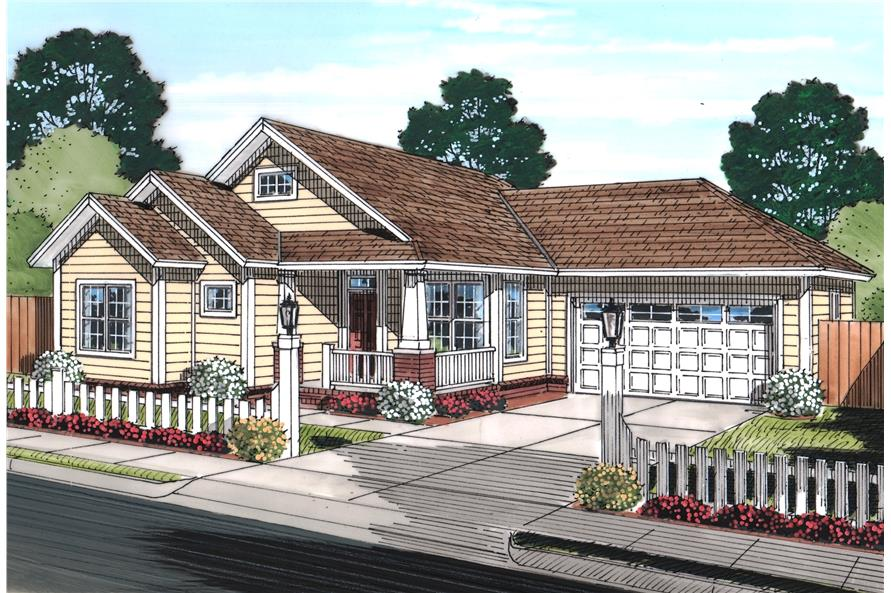 Front elevation of Cottage home (ThePlanCollection: House Plan #178-1247)