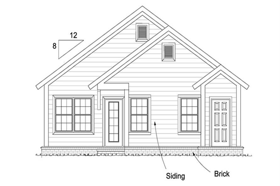 Home Plan Rear Elevation of this 3-Bedroom,1277 Sq Ft Plan -178-1248