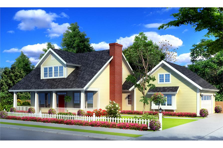 Front elevation of 1 1/2 Story home (ThePlanCollection: House Plan #178-1251)