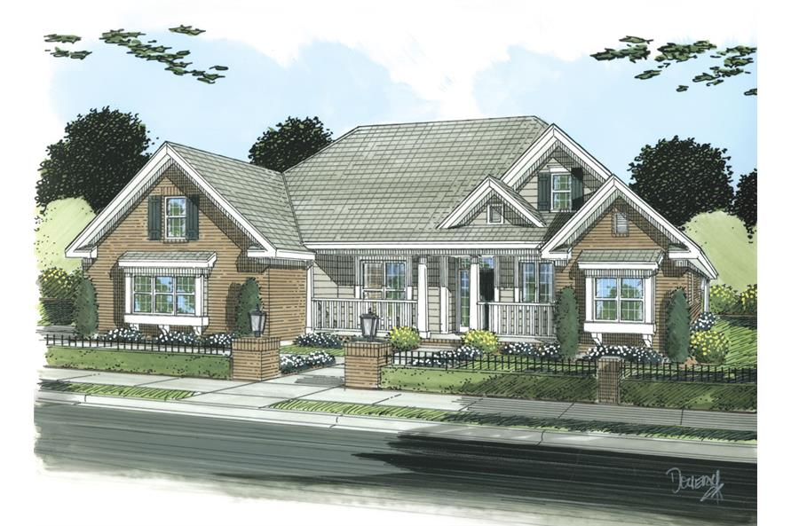 Front elevation of Ranch home (ThePlanCollection: House Plan #178-1252)
