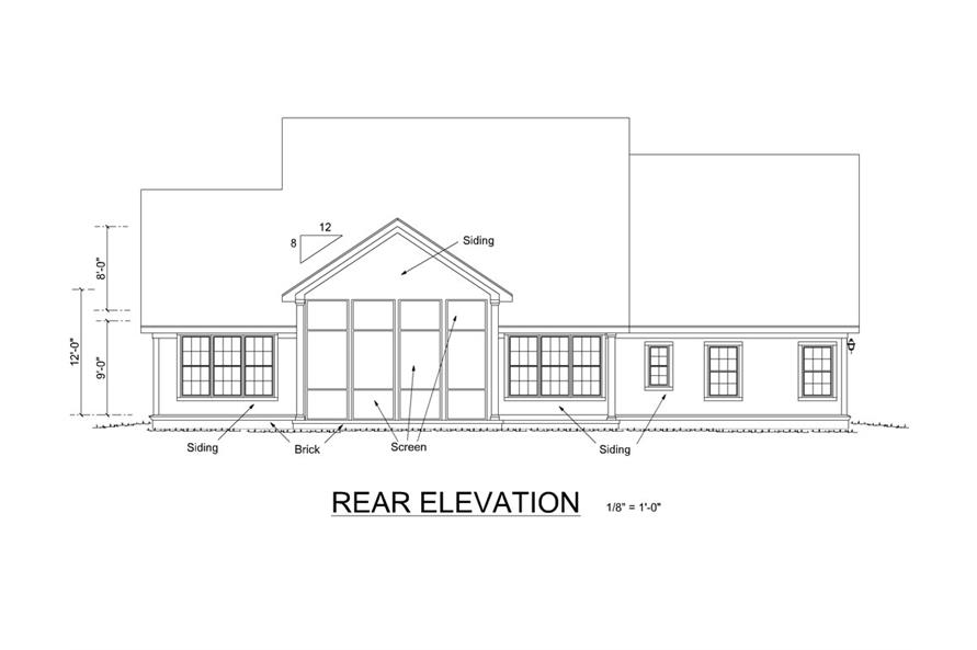 Home Plan Rear Elevation of this 4-Bedroom,2578 Sq Ft Plan -178-1253
