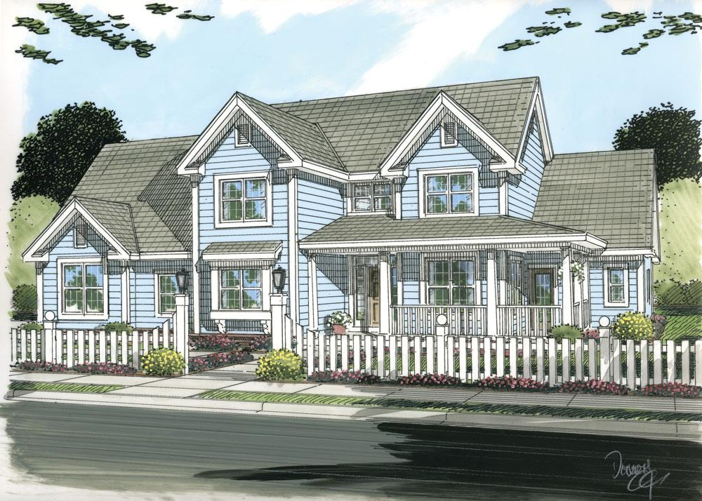Front elevation of Country home (ThePlanCollection: House Plan #178-1253)
