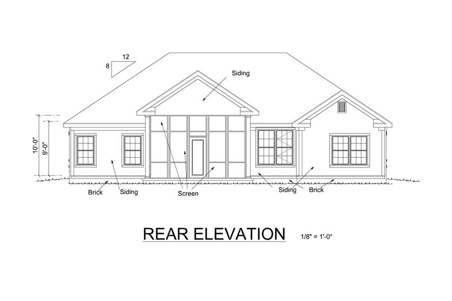 178-1254: Home Plan Rear Elevation