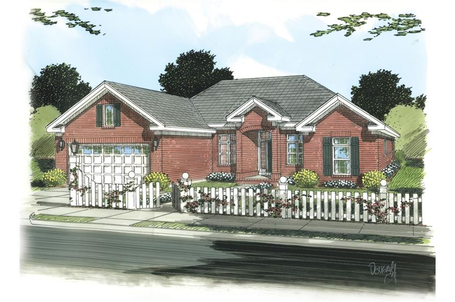 Front elevation of Traditional home (ThePlanCollection: House Plan #178-1254)