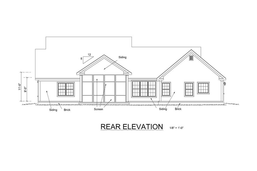 178-1255: Home Plan Rear Elevation