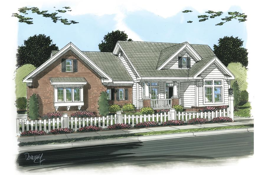 Front elevation of Craftsman home (ThePlanCollection: House Plan #178-1255)