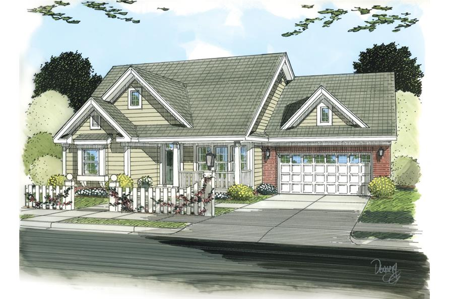 Front elevation of Traditional home (ThePlanCollection: House Plan #178-1256)