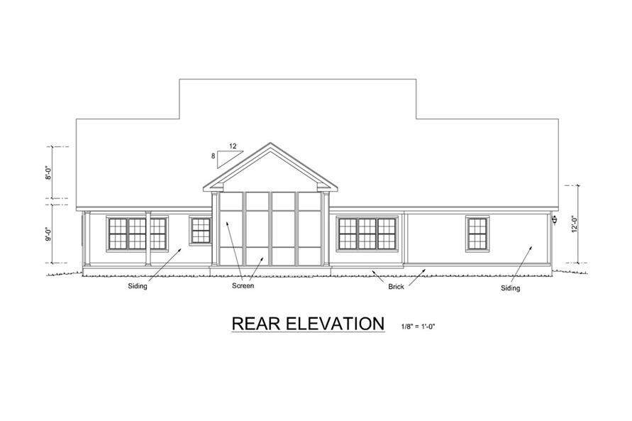 178-1257: Home Plan Rear Elevation