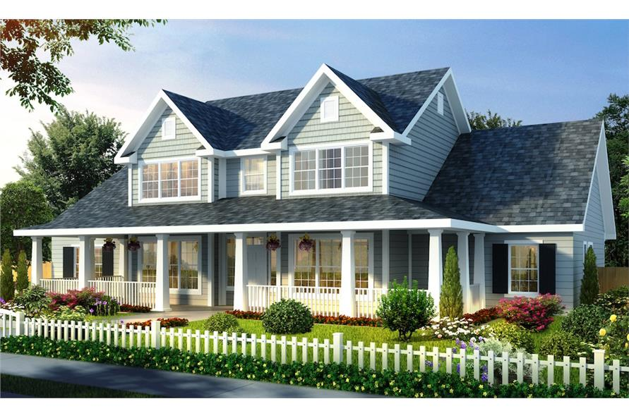 Full color rendering of Farmhouse home plan (ThePlanCollection: House Plan #178-1257)