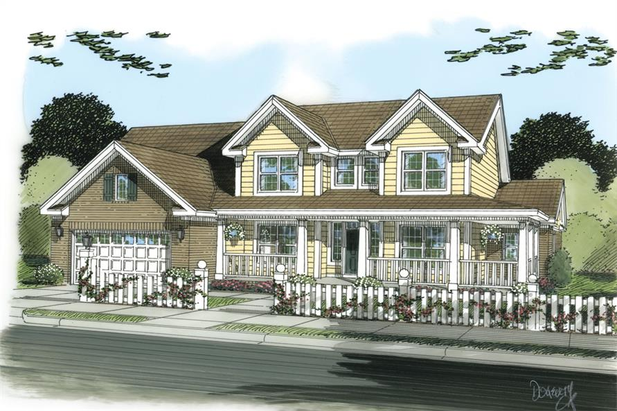 Front elevation of Country home (ThePlanCollection: House Plan #178-1258)