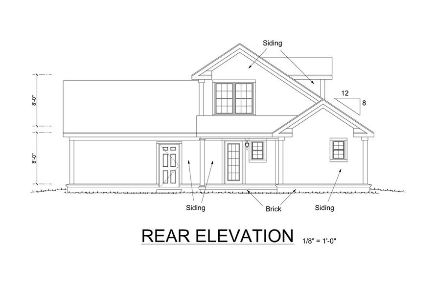 178-1260: Home Plan Rear Elevation